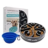 Slow Feeder Dog Bowl Bloat Stop Dog Food Bowl Maze Interactive Puzzle Non Skid Feeder, Come with Free Travel Bowl (for Medium Dog and Puppy, Grey)