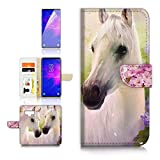 (for Samsung Note 9, Galaxy Note 9) Flip Wallet Case Cover & Screen Protector Bundle - A31206 White Horse