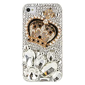 LZX Crown Pattern Irregular Shape Crystal Covered Back Case for iPhone 4/4S