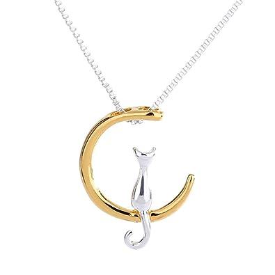 Mingjun - Collar con colgante de gato para mujer, diseño de luna, color plateado