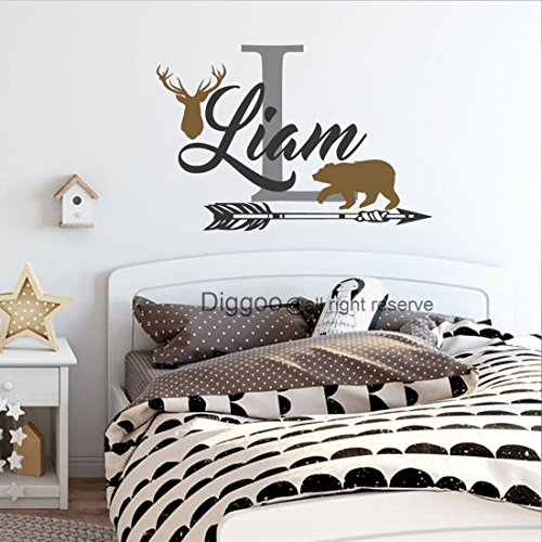 Boys Hunting Themed Wall Decal Personalized Boys Name Decal Deer Antler Arrow Bear Decal Woodland Nursery Decor (28