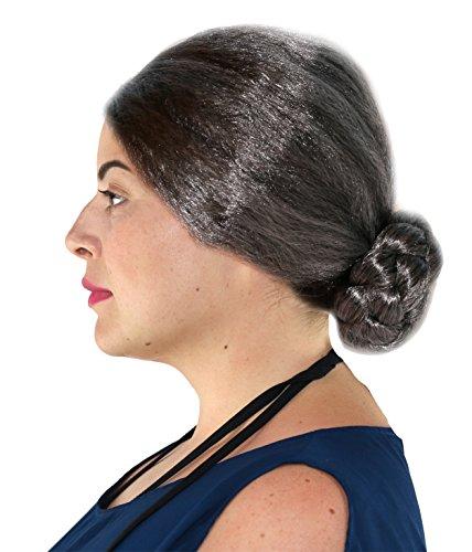 Old Lady Grey Bun Wig Grandmother Wig
