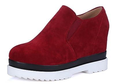 SHOWHOW Damen Nubuk Durchgängiges Plateau High Top Sneakers Rot 37 EU bVmOGM9