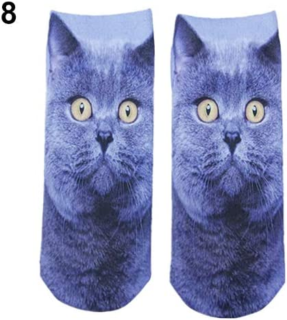 shengyuze Womens Invisible Socks 3D Printed Cartoon Animal Cat Patterns Anklet Hosiery for Women-8
