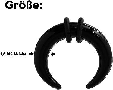 1,6 mm - BK - Black/Schwarz - Acryl - Expander - Buffalo (Piercing ...