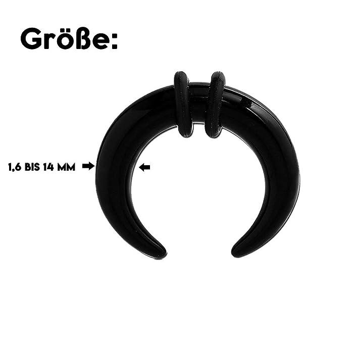 1,6 mm - BK - Black/Schwarz - Acryl - Expander - Buffalo (Piercing Dehner Dehnstab Ohrdehner Taper für gedehnte Flesh Tunnel Ohren): Amazon.es: Joyería