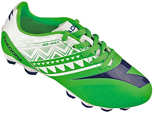 Diadora Kids' DD-NA 3 R LPU Junior Soccer Cleats (4.5 M US Big Kid, Fluo Green, White)