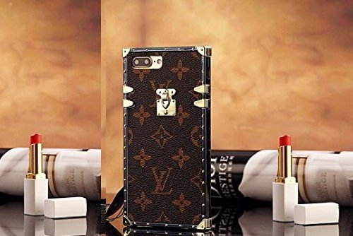 GUUCLA Trunk Case for iPhone 7Plus iPhone 8Plus,Fashion Elegant Luxury PU Leather Wallet Monogram Style Full Protection Cover Case with Lanyards Compatible for Apple iPhone 7 Plus/iPhone 8 Plus (5 Iphone Wallet Louis Vuitton)