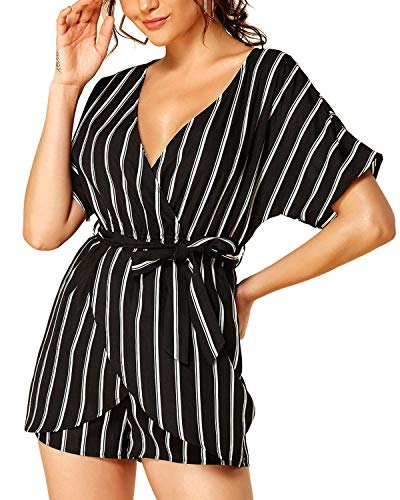 YOINS Rompers for Women Sexy High-Waisted Overalls Fashion Casual Playsuits Z-Black Stripe Romper L