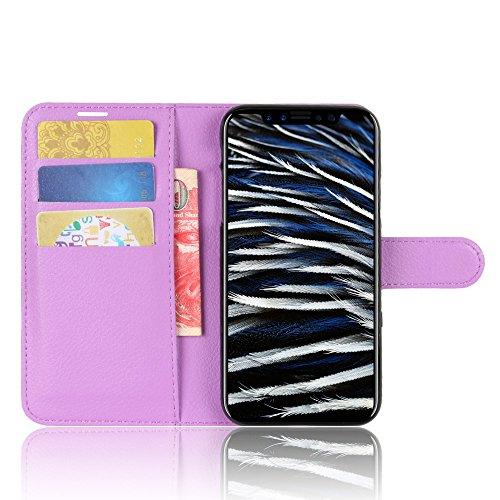 Lusee PU Caso de cuero sintético Funda para Apple iPhone 8 Cubierta con funda de silicona azul violeta