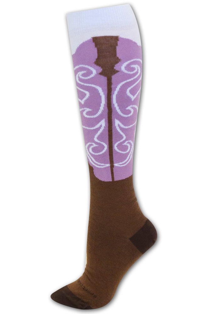 Cowgirl boot Socks Brown/Orchid S/M