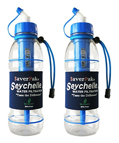 $averPak 2 Pack - Includes 2 Seychelle 20oz Extreme Water Filter Bottles (Blue) by $averPak