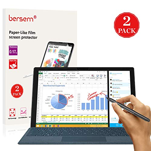 BERSEM Paper-Like Screen Protector for Surface Pro 6 / Surface Pro (5th Gen) / Surface Pro 4, Paperlike Screen Protector (2 Pack) Matte Film Anti Glare Less Fingerprint with Easy Installation kit