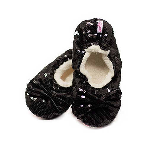 Shimmy's amp; Comfortable Made Girls Warm amp; Women Black Fit Exceptionally Slippers For Well Sequin Soft qWarqT
