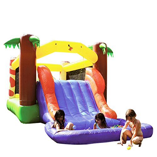 JumpOrange 20' x 9' Obstacle Kiddo Rainforest Explorer Waterfall Backyard Party Jump Moonwalk and Water Slide