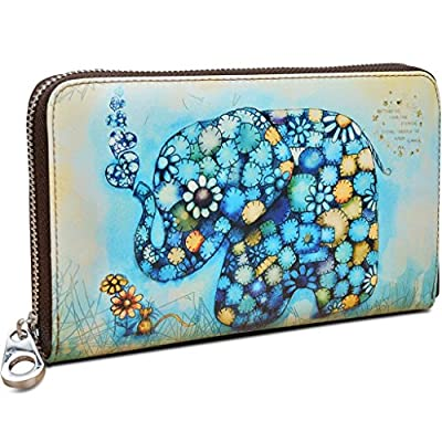 YALUXE Women's Elephant Print Real Leather Large Zipper Clutch Wallet Phone Passport Checkbook Holder