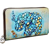 Yaluxe Women's Flower Elephant Print Large Genuine Leather Zipper Wallet Coin Case Phone Checkbook Card Holder