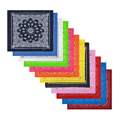 (12 Pack Cotton Bandanas with Different Colors for Daily Life)