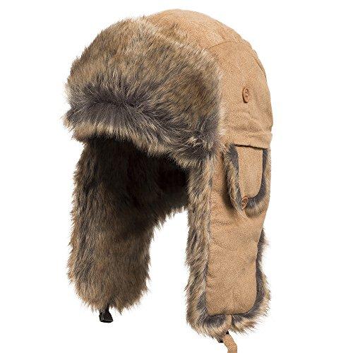 Savannah Trapper Ushanka Pilot Aviator Faux Rabbit Fur Trooper Hat BEIGE 7 3/8