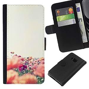 All Phone Most Case / Oferta Especial Cáscara Funda de cuero Monedero Cubierta de proteccion Caso / Wallet Case for HTC One M9 // Flowers Field Nature Summer