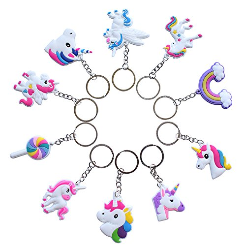 40 Pcs Rainbow Unicorn Keychains Key Ring Decoration Birthday Party Favor Supplies Unicorn Party Favors Novelty -