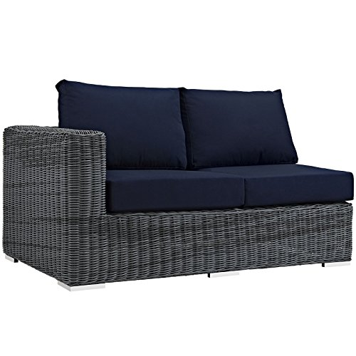 Modway Summon Outdoor Patio Left Arm Loveseat With Sunbrella Brand Navy Canvas Cushions by Modway
