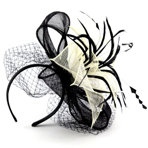 Buckingham' Black & Pink Hat Fascinator with Net Mesh Veil, Stunning Fuchsia & Black Hat Combo in this Headwear, Avaliable in 2 Colours.Great - Pink Versace Diamond