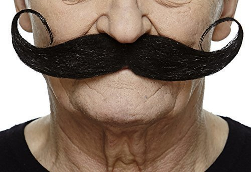 Mustaches Self Adhesive Fake Mustache, Novelty, Capt' Hook False Facial Hair, Costume Accessory for Adults, Black Color