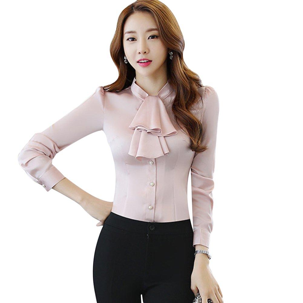 Chicfor Womens Long Sleeve Chiffon Shirt Tie Bow Neck Button Down