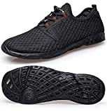 TIANYUQI Women's Mesh Slip On Water Shoes,All Black 2,41EU/10.5US
