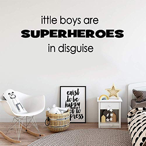 (Junome Wall Sticker Decal Mural Window Vinyl Decal Quote Art Little Boys are Superheroes in Disguise for Boys Room Nursery Kids Room Home)