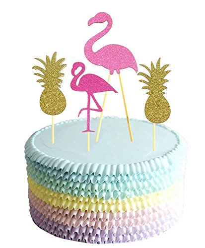 Glitter-Pink-Flamingo-Cake-Topper-Party-Supplies-Pineapple-Decor-Cupcake-Toppers-Set-of-6