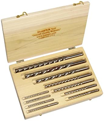 Alvord Polk 155-S-03 High-Speed Steel Taper Pin Reamer Set, Left Hand Helical Flute, Uncoated Finish, 11-Piece, #0 - #10 Taper Pin Sizes in Wood Case