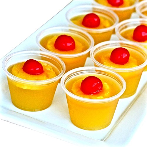 Adorox Plastic Restaurant Condiment Sauces Jello Shot Souffle Party Clear Cups with Lids (4 oz, Clear (125 Cups))