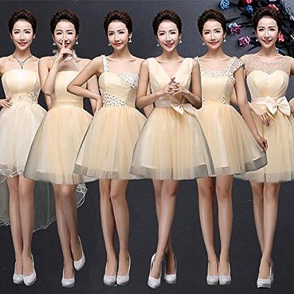 1 Pieza de Tul suave Bridesmaid vestido corto con arco Champagne 2016  Nuevas damas de honor 96551eb4c3dc