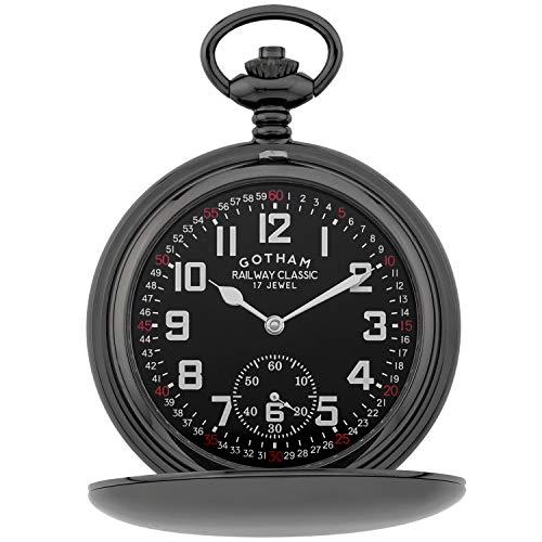 Gotham Men's Gun-Tone Railroad Dial Double Hunter 17 Jewel Mechanical Pocket Watch # GWC18806BBK ()