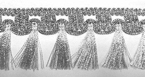 16,40m Fransen-Borte 5cm breit Farbe: Lurex-Silber TSL-1426-A-si
