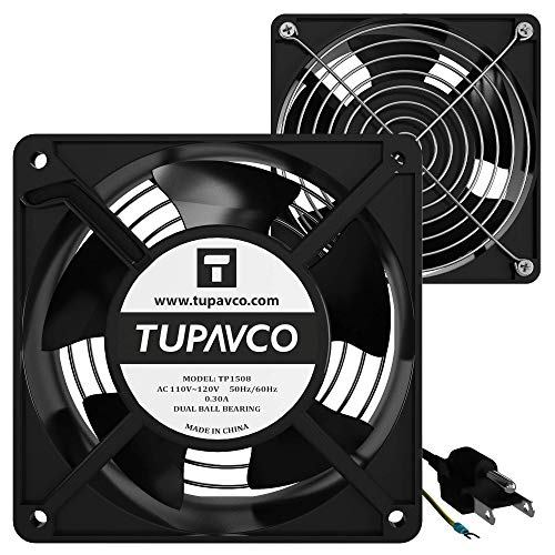 Network Cabinet Fan (Dual 2pc Kit) Server Rack Cooling (Pair of Rackmount Muffin Fans 120mm 4in) Steel Frame -110V Cable (Dual Ball for Side/Top Mount) Computer Ventilation Equipment -Tupavco TP1508 ()