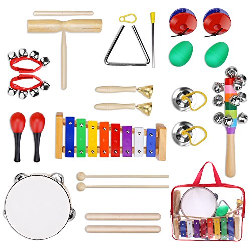 YISSVIC Kids Musical Instruments Tamborines Drum Set 12Pcs Xylophone Percussion Toy with Carrying Bag