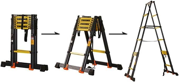 Escalera Telescópica- Escalera Telescópica De Servicio Pesado con Barra Estabilizadora, Aluminio Plegable Escaleras Retráctiles De Extensión para Trabajos En Interiores Y Exteriores, Negro: Amazon.es: Hogar