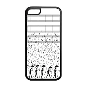 MMZ DIY PHONE CASE5C Phone Cases, Musical Notes Hard TPU Rubber Cover Case for ipod touch 4