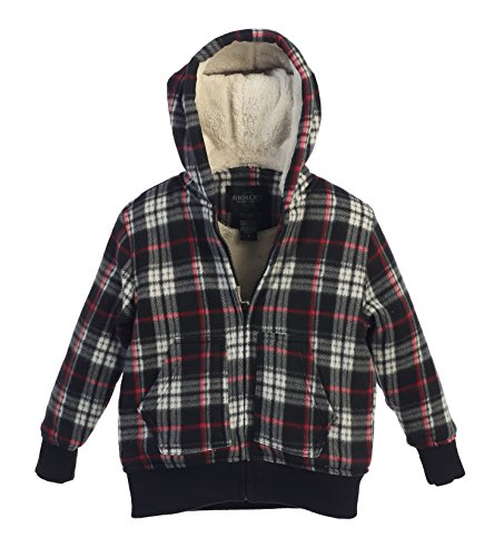 Gioberti Boys Flannel Hoodie Jacket with Sherpa Lining, Cross / Red Line, Size 6 Flannel Boys Jacket