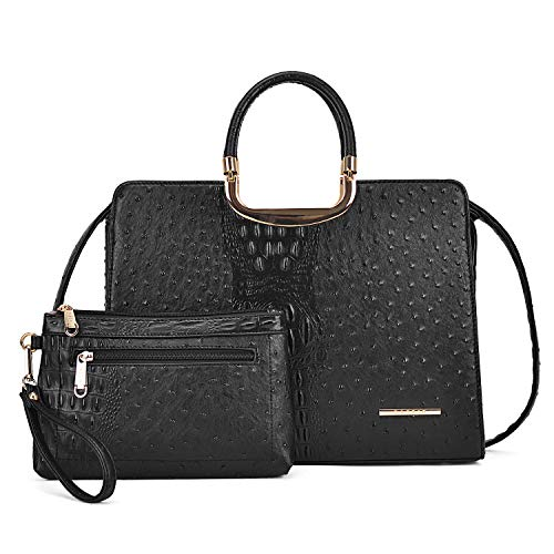 (MMK collection Fashion Ostrich Embossed Leather Handbags Signature Designer Purse for Women(XL-T-2828-BK))