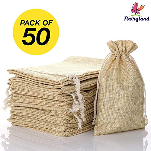 "FLAIRYLAND 5"" x 8"" Burlap Bags with Jute Drawstring for Holiday Party Birthday Wedding-Gift Jewelry Treat DIY Craft Favor Bags Sack Pouch, Biodegradable Linen Absorbs Moisture Oil Grease, Lot of 50 for $<!--$24.99-->"