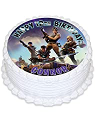 Fortnite Battle Royale Cake Topper Personalized Birthday 8 Round Circle Decoration Party Birthday Sugar Frosting Transfer Fondant Image ~ Best Quality Edible Image for Cake