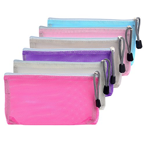 Mudder 6 Pieces Travel Zipper Mesh Bag Makeup Zip Bag Mesh Pouch Organizer for Toiletry and Cosmetics, 6 Colors