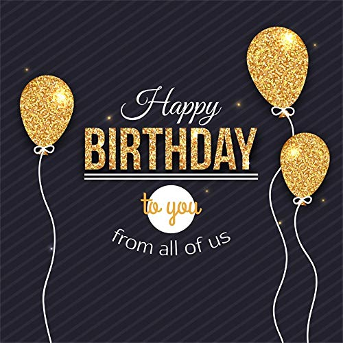 AOFOTO 5x5ft Happy Birthday Backdrop for Adult Party Golden Balloons Father Mother 30th 40th Years Old Grandparents 50th 60th 80th Black Bday Background Decoration Banner Photo Studio Props Vinyl -