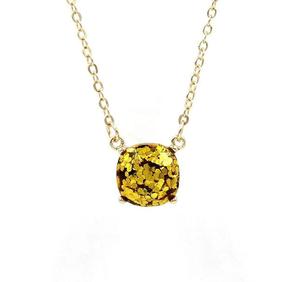 Ooh La La Jewels And Beyond Glam Gold Glitter Square Dot Pendant Stud Earrings Necklace Set