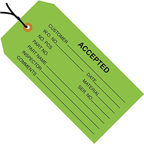 Top Pack Supply Inspection Tags, Pre-Strung,