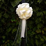 Ivory Lace Pull Bows with Tulle Tails - 8'' Wide, Set of 6